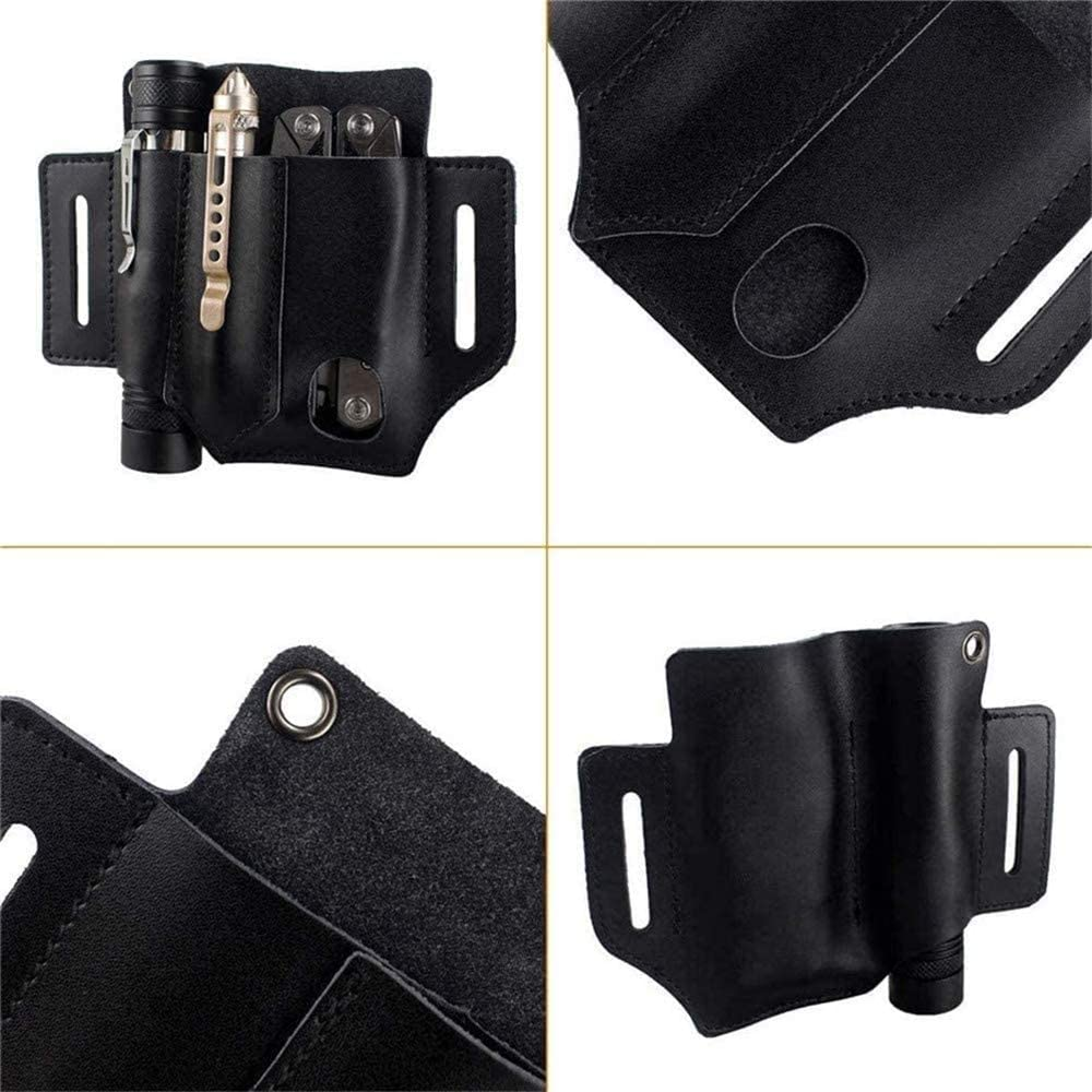 hengyuany Waist Sheath,Unique Quality Leather Belt Loop Waist Multitool Sheath for Camping
