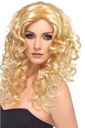 Smiffys - Peluca rubia ondulada para mujer
