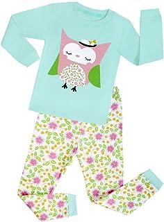 Juqilu Kids Cotton Pigiama Ragazzo Ragazza Warm Autunno Inverno Sleepwear Pantaloni e Manica Lunga Camicie Pajamas Set Bambini Dinosauro Pigiama per 2 Anni- 8 Anni