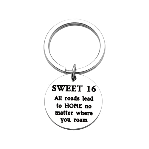 Amazon TGBJE Sweet 16 Gift For Her All Roads Lead To Home Keychain Baptism Keychains 16th Birthday Gifts Jewelry