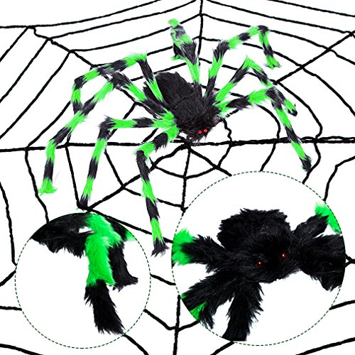 New Scarlet Spider Costume (49Inch Giant Halloween Black Spider Realistic Plush Color Spider Scary Spider Toys for Kids Halloween Party Decorations or Haunted House Outdoor Yard Decor Props (49Inch, Green))