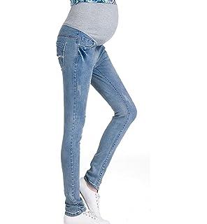 Mujeres embarazadas Nuevo Primavera Verano Pantalones elásticos suaves Leggings Jeans, circunferencia de cintura ajustable Pantalones