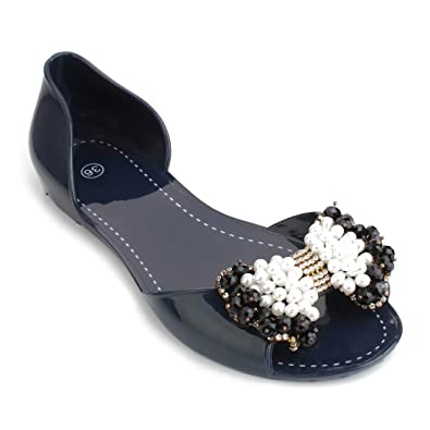 a1844f1ea Omgard Women Sandals Summer Ribbon Bow Peep Toe Jelly Shoes Beach Flat Shoes  Color Blue Size
