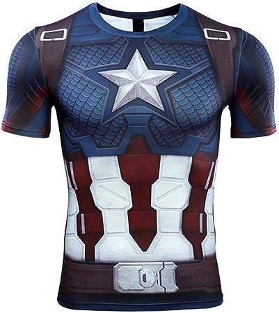 YXRL Hombres Capitán América Impresión Digital Sudoración Secado Rápido Ropa Ejercicio Fitness Medias Camisa Camiseta Deportiva De Manga Larga Blue B-M: Amazon.es: Hogar