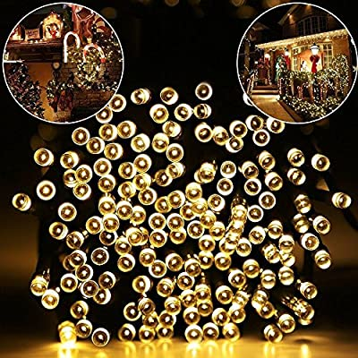 addlon 2 Pack Solar Xmas String Lights 72ft 22m 200 LED 8 Modes Solar Powered Starry Lighting Waterproof Christmas Fairy String Lights for Outdoor Gardens Path Homes Wedding Party Decor (Warm White)