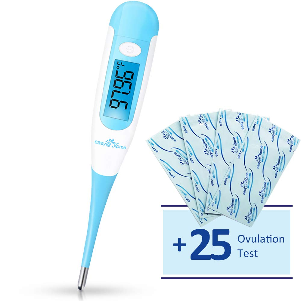 Easy Home Digital Basal Thermometer with Bonus 25 Ovulation Test Strips, 1 100th Degree High Precision and 30 Records, Perfect for Ovulation Tracking and Natural Family Planning, New EBT-100B LH 25