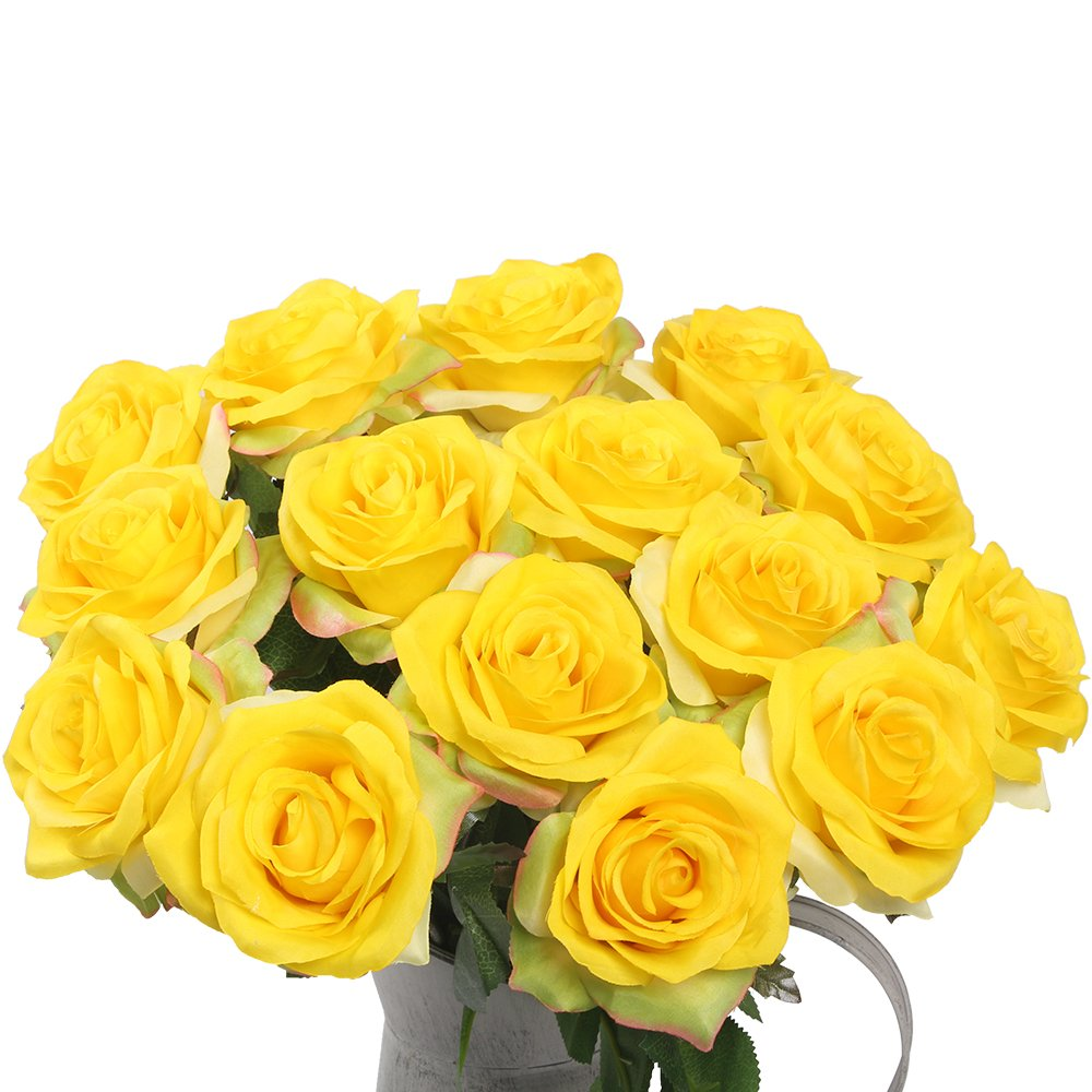 Best rated in artificial flowers helpful customer reviews amazon artificial flowers amyhomie silk roses bouquet home wedding decoration pack of 15 15 yellow mightylinksfo Image collections