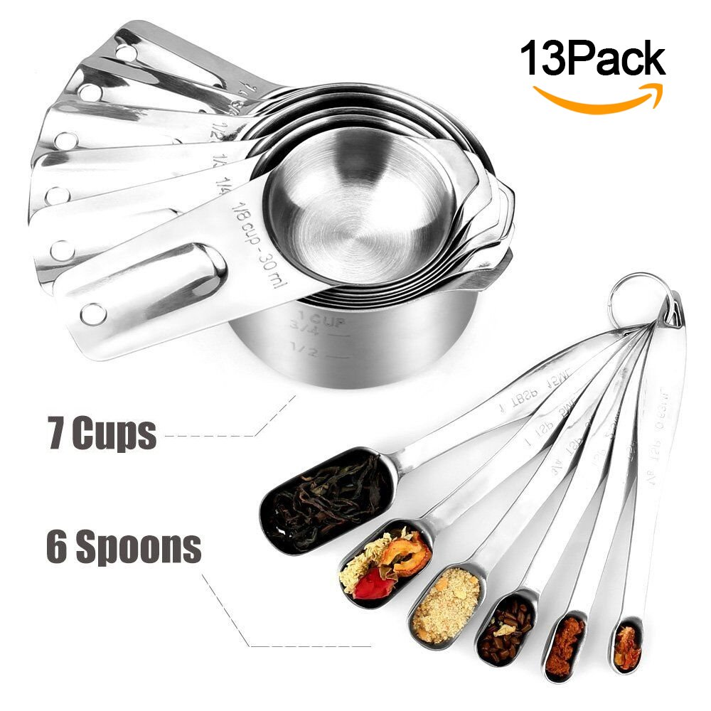 Stainless Steel Measuring Cups and Spoons by XUZOU. Stainless Steel Measuring Cups and Spoons Set of 13. Liquid Measuring Cup or Dry Measuring Cup Set. Stainless Measuring Cups, Nesting cups