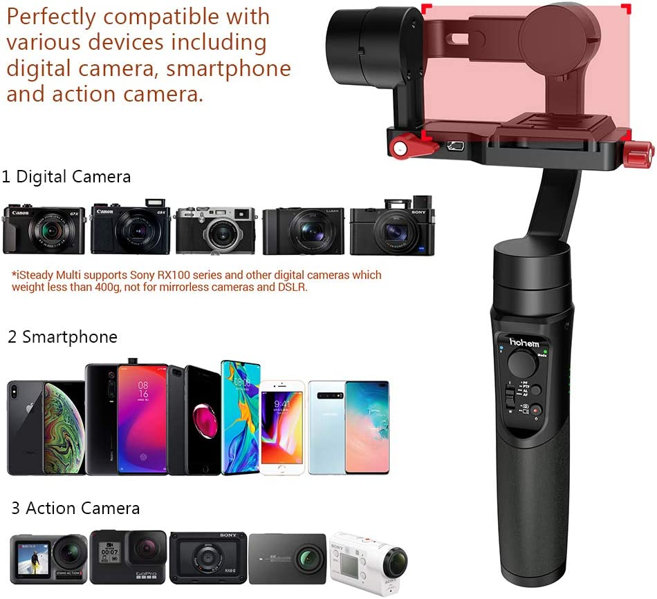 Gopro Hero 7 X3000 Hohem Isteady Multi 3-Axis Gimbal Stabilizer for Sony RX100 Series Sony RX0 Handheld Gimbal Stabilizer with Tripod for Action Camera Digital Camera Smartphone iPhone X XR XS