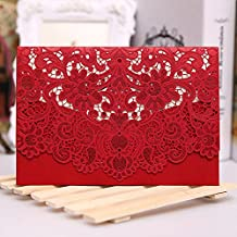 PONATIA 25 pcs/Lot Colorful Laser Cut Square Wedding Party Invitations Cards with Lace for Wedding Marriage Bridal Bride Shower Party (Red)