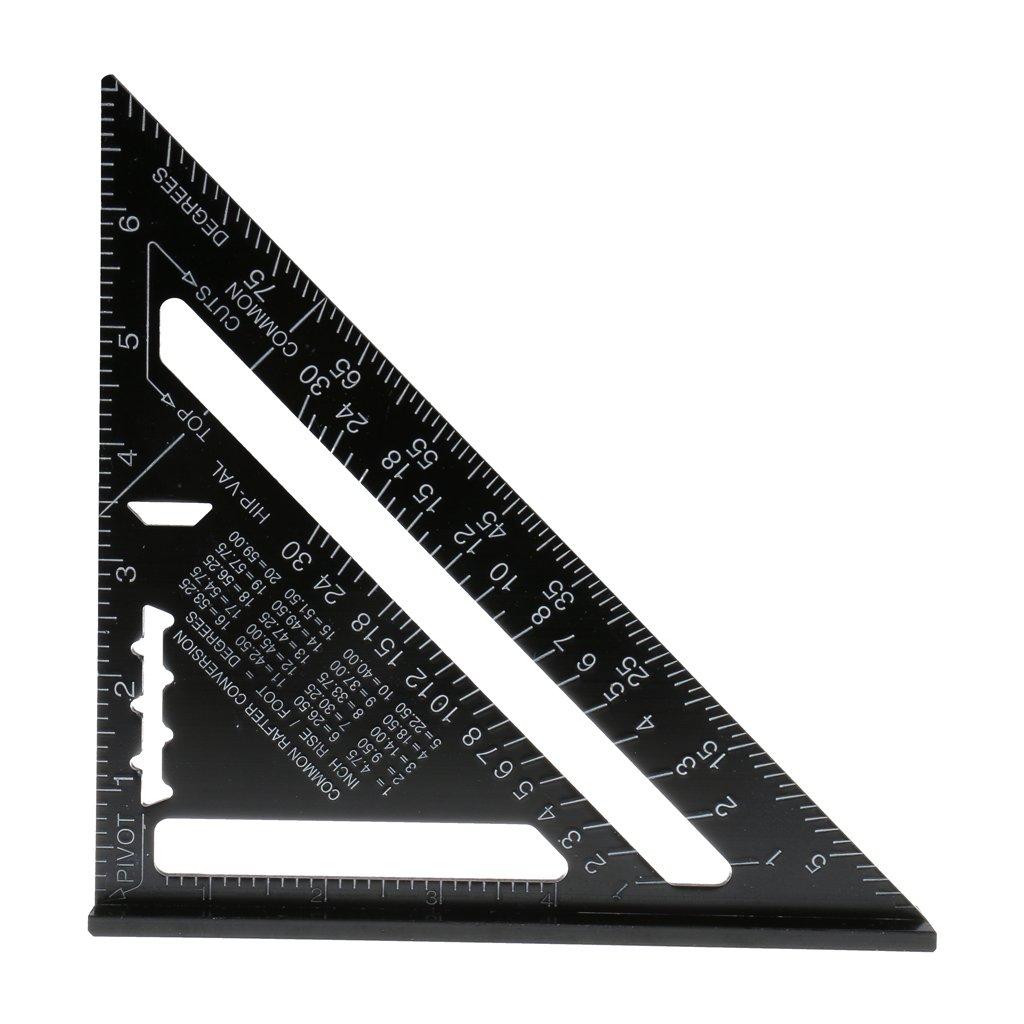 Baoblaze 7Zoll Aluminiumlegierung Dreieck Lineal Winkelmesser messende Messwerkzeug Schwarz