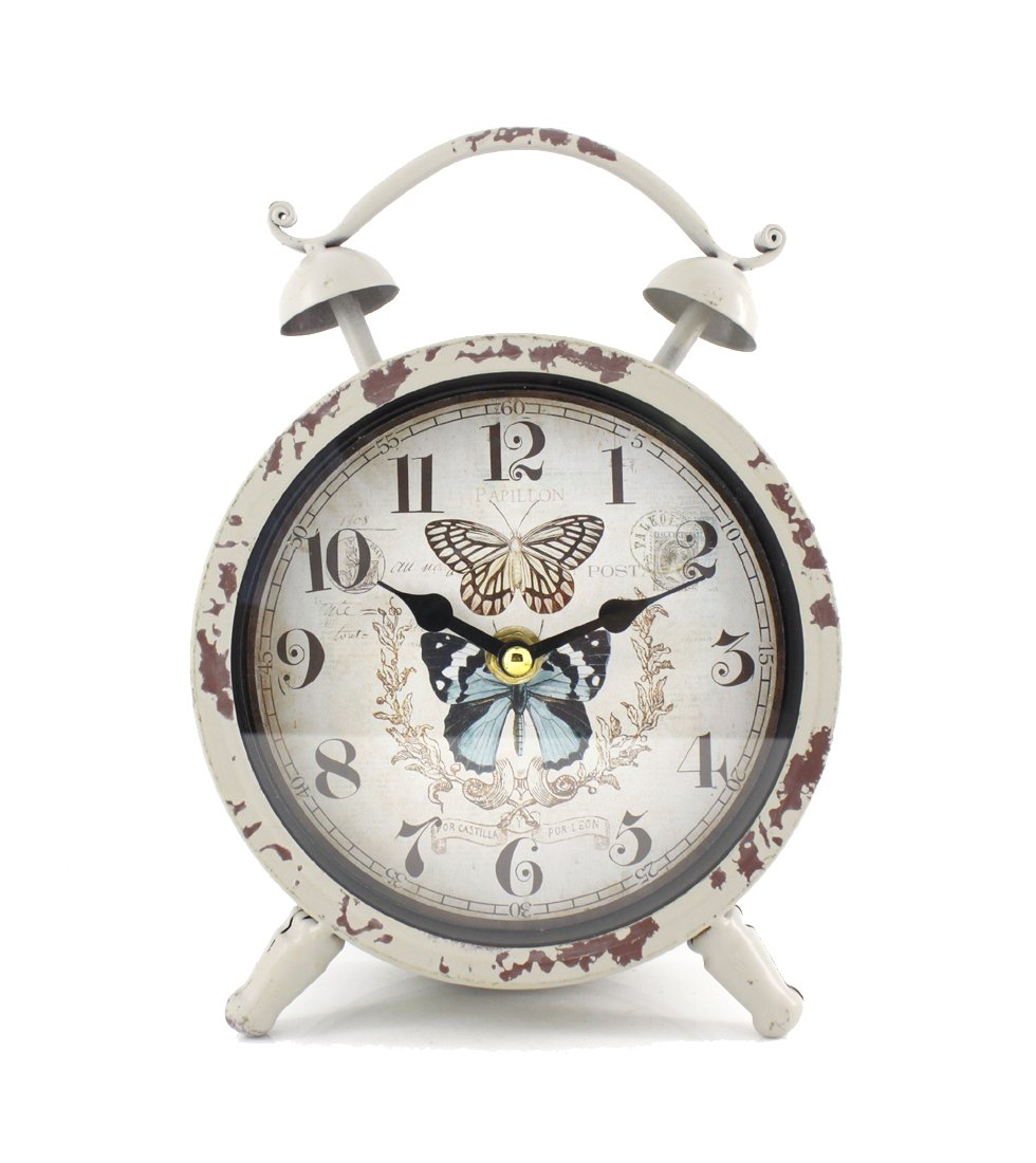 """Handcrafted Metal Analog Silent Quartz Desk Clock,8.4""""x6.4"""",vintage Rustic Look with Handle,Glass on Front (White-Butterfly) - Size: 8.4""""x6.4"""",Clock diameter:2.4"""" Uses 1 AA battery, NOT included There are some scrapes and scuffs to give it a vintage look - clocks, bedroom-decor, bedroom - 61VG3XUJP1L -"""