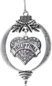 Inspired Silver - Philippines Charm Ornament - Silver Pave Heart Charm Holiday Ornaments with Cubic Zirconia Jewelry