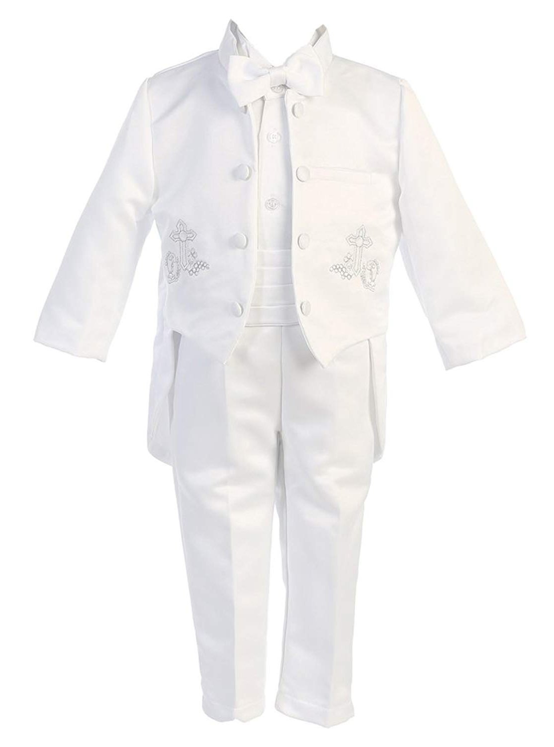 iGilrDress Baby/Toddler/Boys White Baptism Christening Mandarin Collar Tail 5 pcs Tuxedo with Cross Embroidery