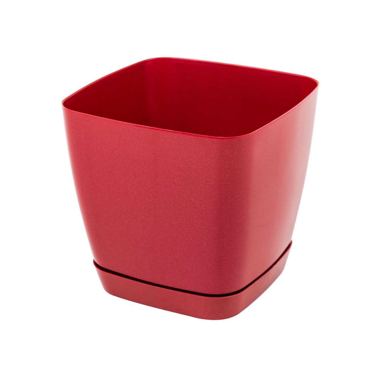 Pot de fleur Toscana en plastique carré 17 cm avec soucoupe, en rouge Form Plastic