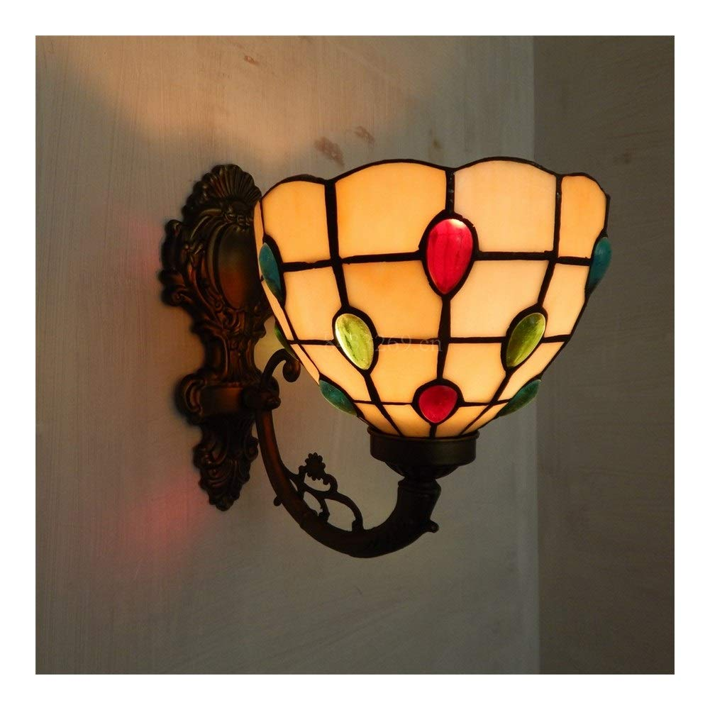 Soft Lighting 8inch Handmade Wall Chandelier, Home Decoration Bracket Light with Stained Glass European Style Handmade