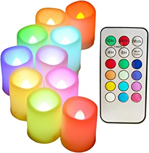 "Colored Flameless Candles with Timer and Remote Control - SWEETIME Color Changing Led Tea Lights Candles, Battery Operated Votive Candles for Valentine Day, Easter Party Decor,1.5""x 2"",Set of 10."