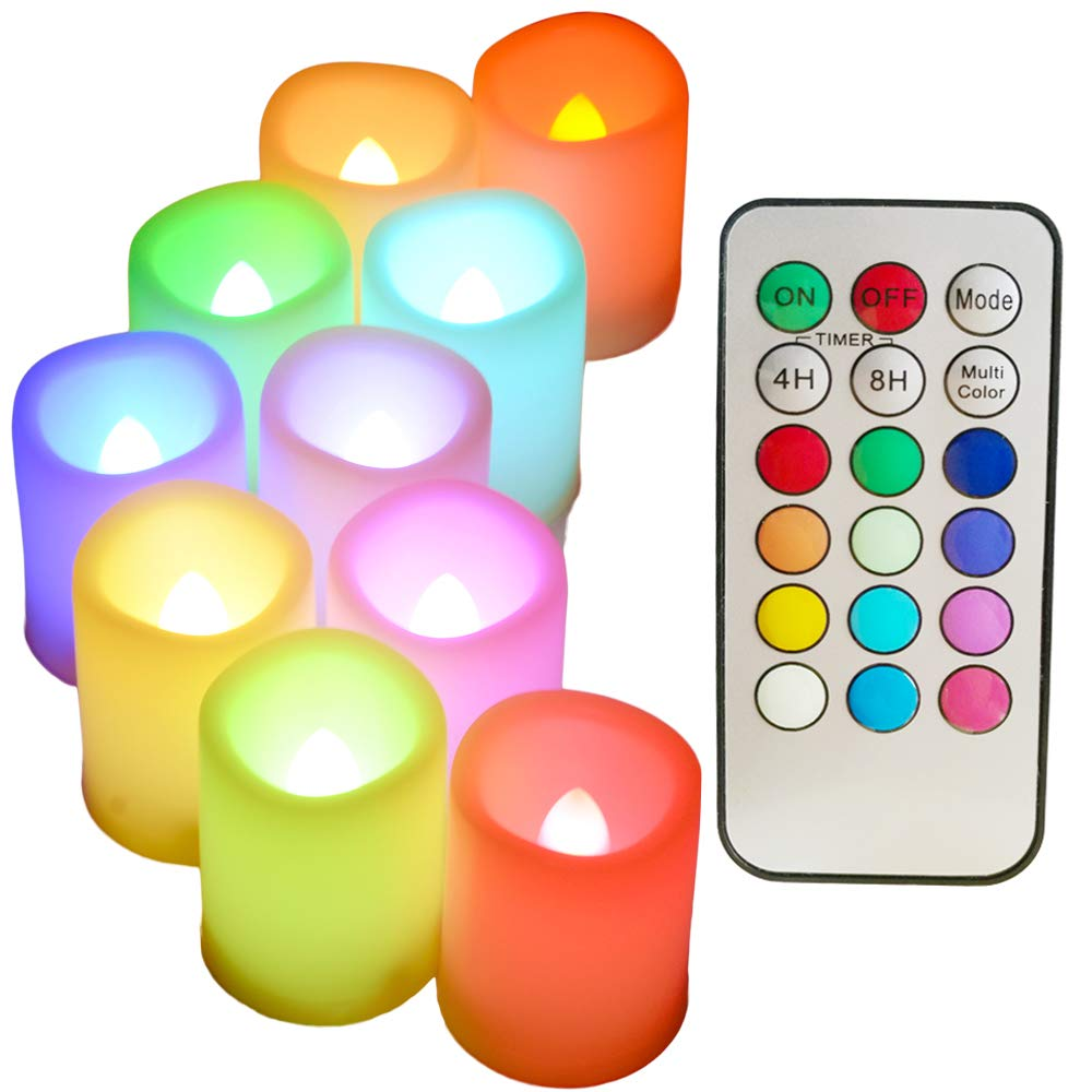 Colored Flameless Candles with Timer and Remote Control SWEETIME Set of 10 Battery Operated Votive Candles with Flickering Flame Color Changing Led Tea Lights Decor for Christmas Birthday.