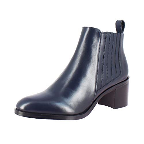 Saint G Womens Navy Leather Block Heel Ankle Boots 6fdd18e2c