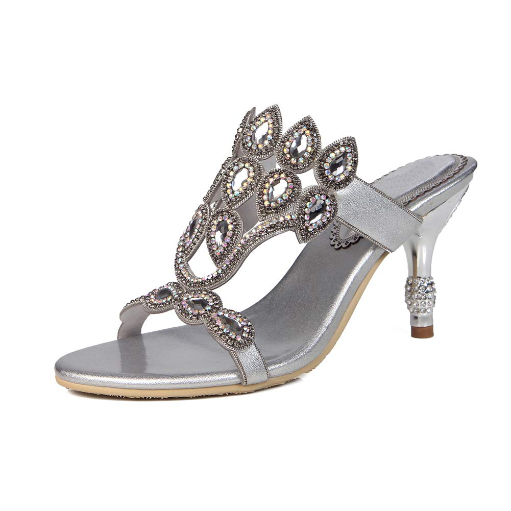 Silver Women's Rhinestone Slim high Heel Sandals Metal Rhinestone Heel High Heel Slippers Luxurious Dress Slippers