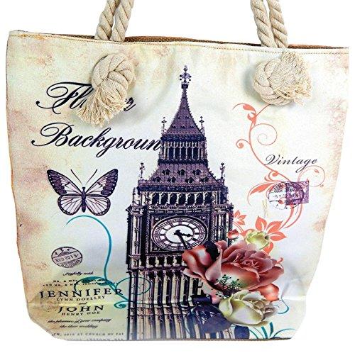 Tasche Paris Eiffelturm und London Big Ben beige Shopper Einkaufstasche XL