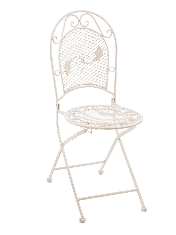 Aubaho Nostalgie Gartenstuhl 9kg Eisen Stuhl Klappstuhl Klappstuhl Klappstuhl Antik-Stil creme weiss db298b