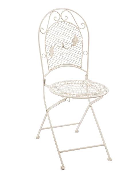 Nostalgie Gartenstuhl 9kg Eisen Stuhl Klappstuhl Antik Stil Creme Weiss