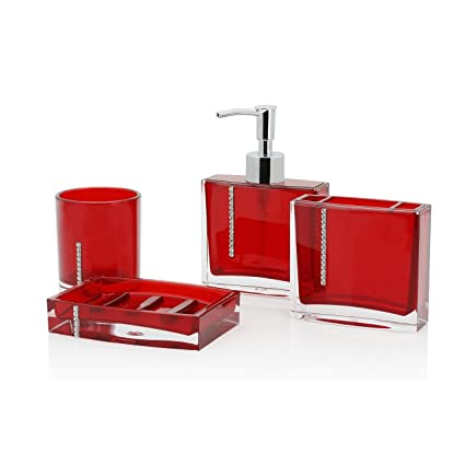 Ordinaire Immanuel Cristal 4 PIECE Bathroom Accessory Set With Tumbler, Toothbrush  Holder, Lotion Dispenser