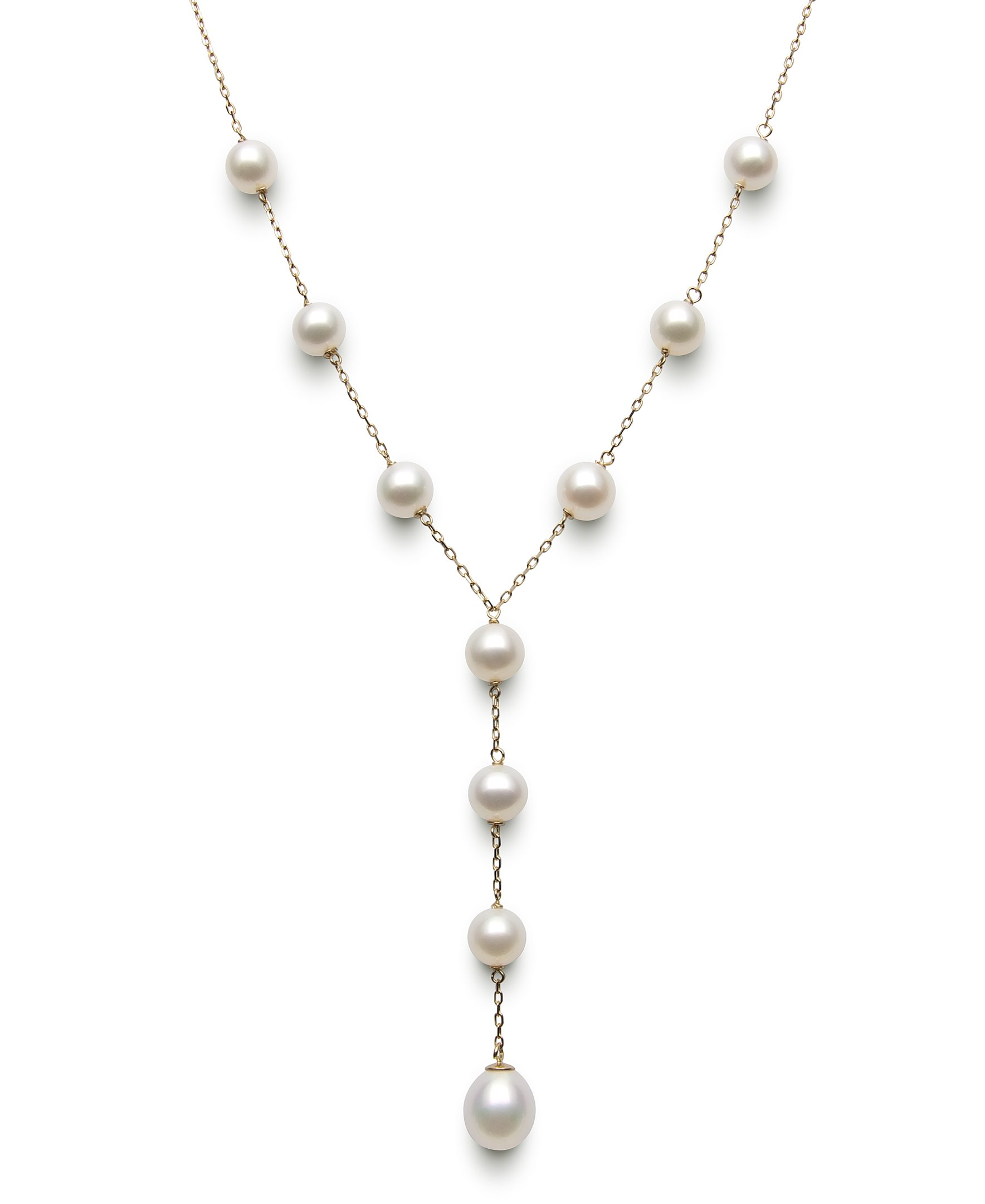14k Yellow Gold Freshwater Cultured Pearl Y Necklace for Women, 17.5'' by Belacqua