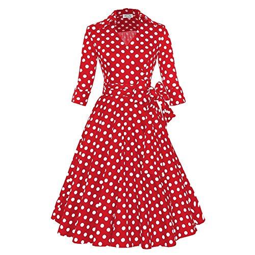 WintCO Vestido para Mujeres con Volantes y Mangas Medias Vestido a Lunares Con Cinturón Rojo blanco