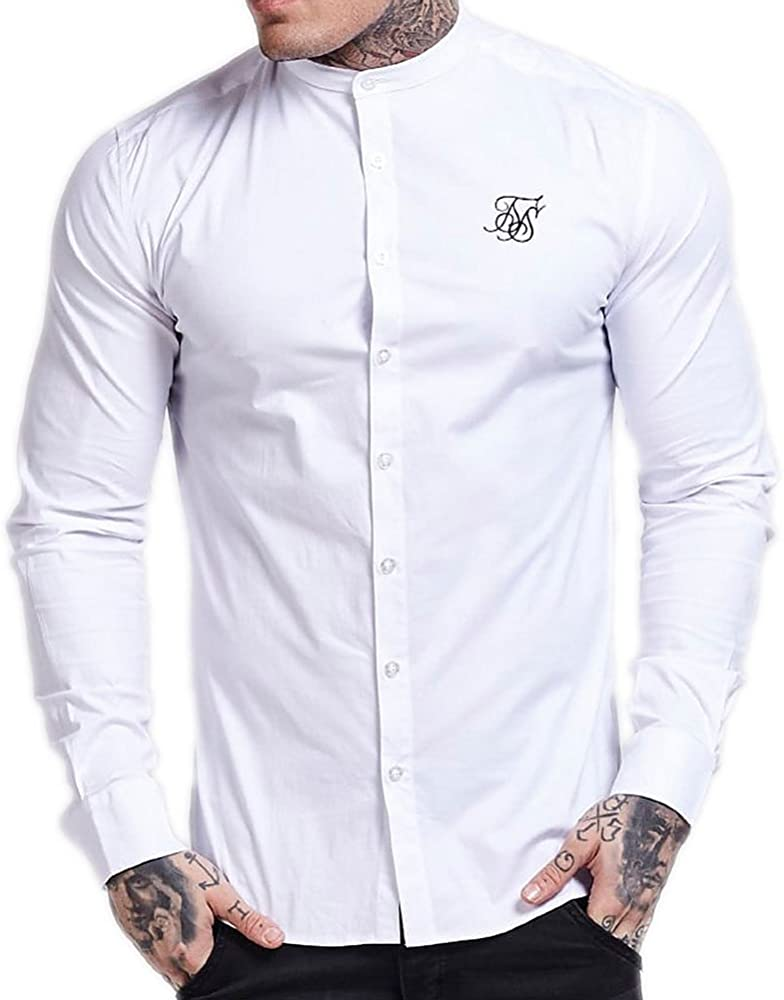 Camisa Manga Larga Siksilk – Long Sleeve Oxford Stretch Fit Blanco/Negro Talla: XL (X-Large): Amazon.es: Ropa y accesorios