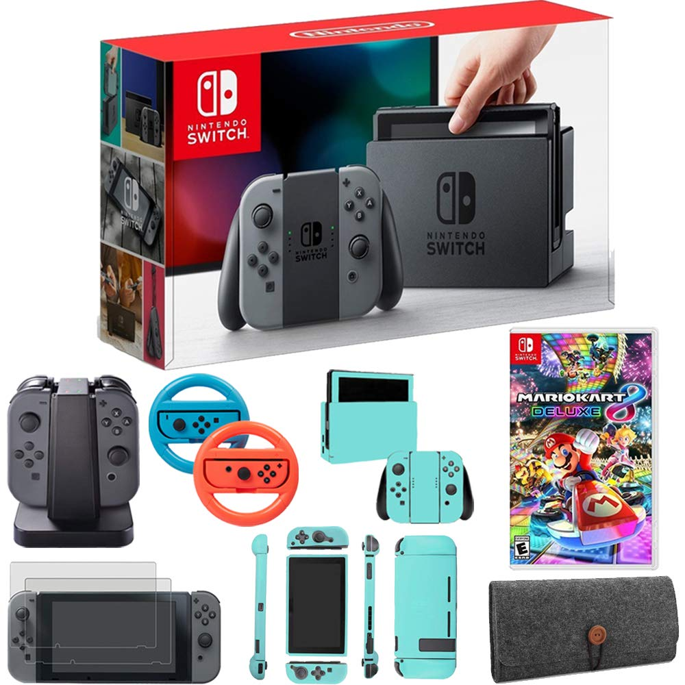 Nintendo Switch 32GB Console with Gray Joy Con + Mario Kart 8 Deluxe & Accessories Bundle