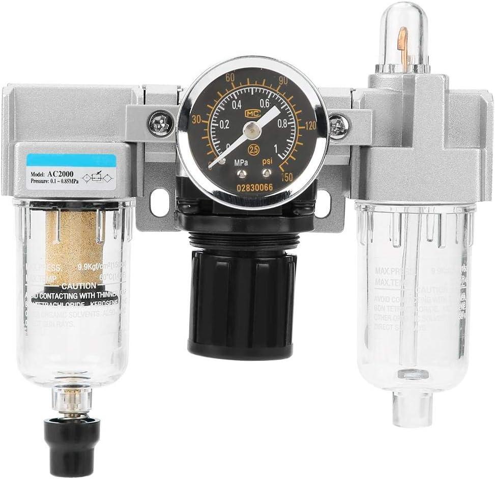 Easy to Install. Air Source Gas Treatment Unit Filter Pressure Regulator Good Sealing Performance High Strength Air Filter Regulator,G1//4 Air Pressure Regulator Valve with Gauge