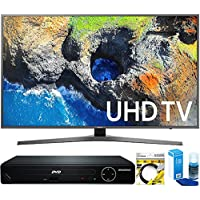 Samsung (UN65MU7000FXZA) 65 4K Ultra HD Smart LED TV (2017 Model) with HDMI 1080p HD DVD Player + 6ft HDMI Cable + Universal Screen Cleaner for LED TVs
