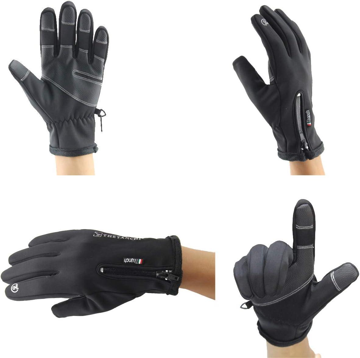 VOHONEY Gants de V/élo Gants Hiver Gants Sport /à /écran Tactile Gants Imperm/éable Coupe-Vent Anti-D/érapant /écran Tactile R/églable Taille Hiver Ext/érieur Unisexe V/élo Gants