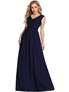 8377f6dbdaf5 Ever Pretty Women's Elegant v Neck Floor Length A Line Chiffon Bridesmaid  Dresses with Stretch Elastic