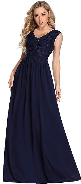 Ever-Pretty Damen Abendkleid A-Linie V Ausschnitt Brautjungfer r/ückenfrei lang 08697