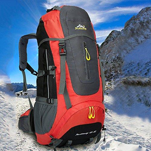 nuosheng al aire libre Montañismo bolso al aire libre mochila viajes hombres y mujeres hombro bolsa de viaje montar pie 65L de gran capacidad, verde rojo