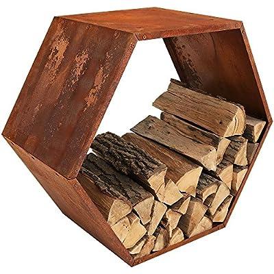 Sunnydaze Heavy-Duty 30 Inch Hexagon Rustic Honeycomb Log Rack - Choose Quantity