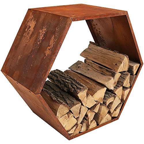 Sunnydaze Outdoor Hexagon Heavy-Duty Firewood Log Storage Rack - Honeycomb Design - Cold-Rolled Steel Construction with Rustic Oxidized Finish - 30-Inch (Rack Firewood Design)