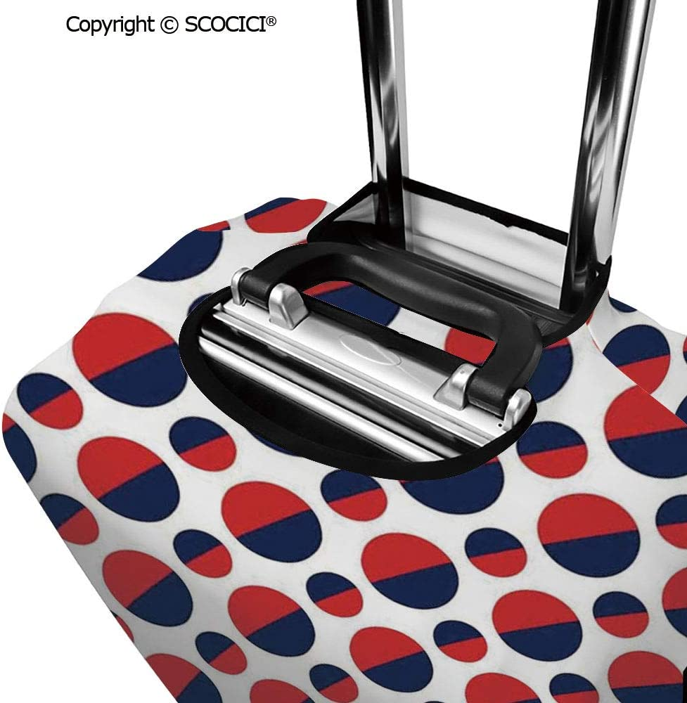 SCOCICI Luggage Cover Vertical Square Shaped Geometric Pattern Minimalist Modern Style Trippy Design Protective Travel Trunk Case Elastic Luggage Suitcase Protector Cover