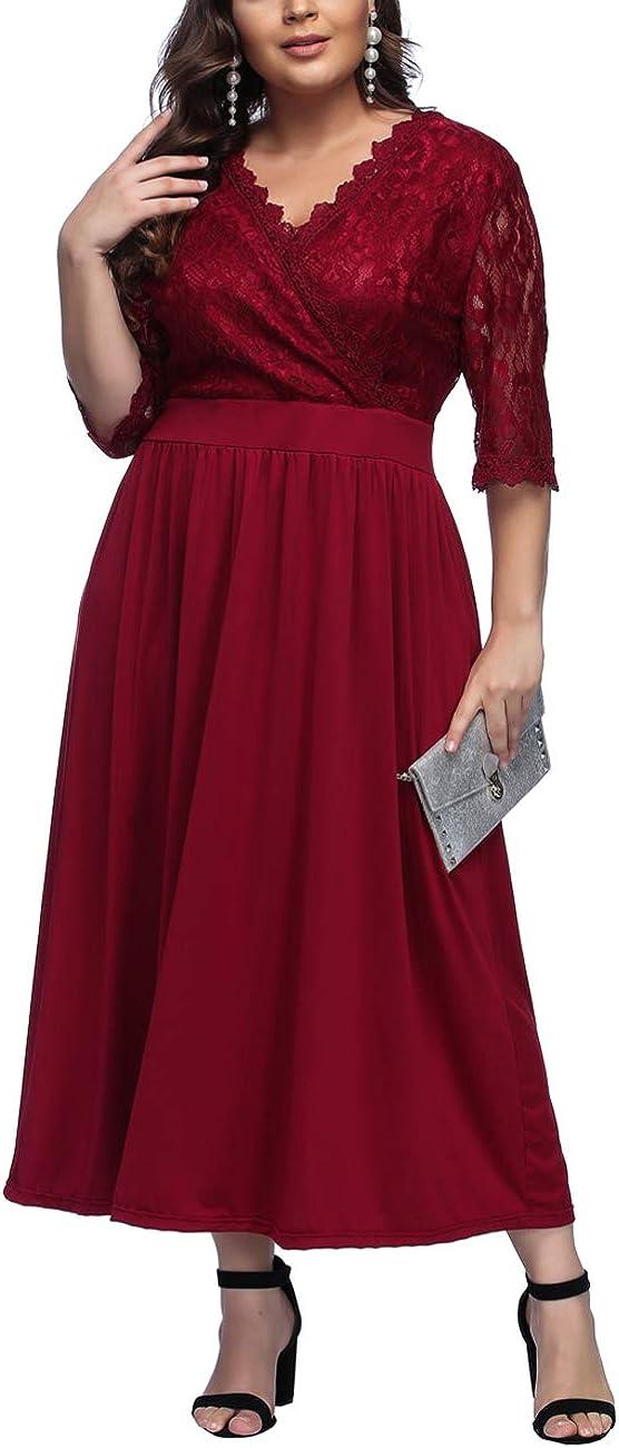 TALLA XXL/ES 50-52. FeelinGirl 1950 Año Retro A-Línea Falda de Fiesta para Mujer Encaje-rojo XXL/ES 50-52