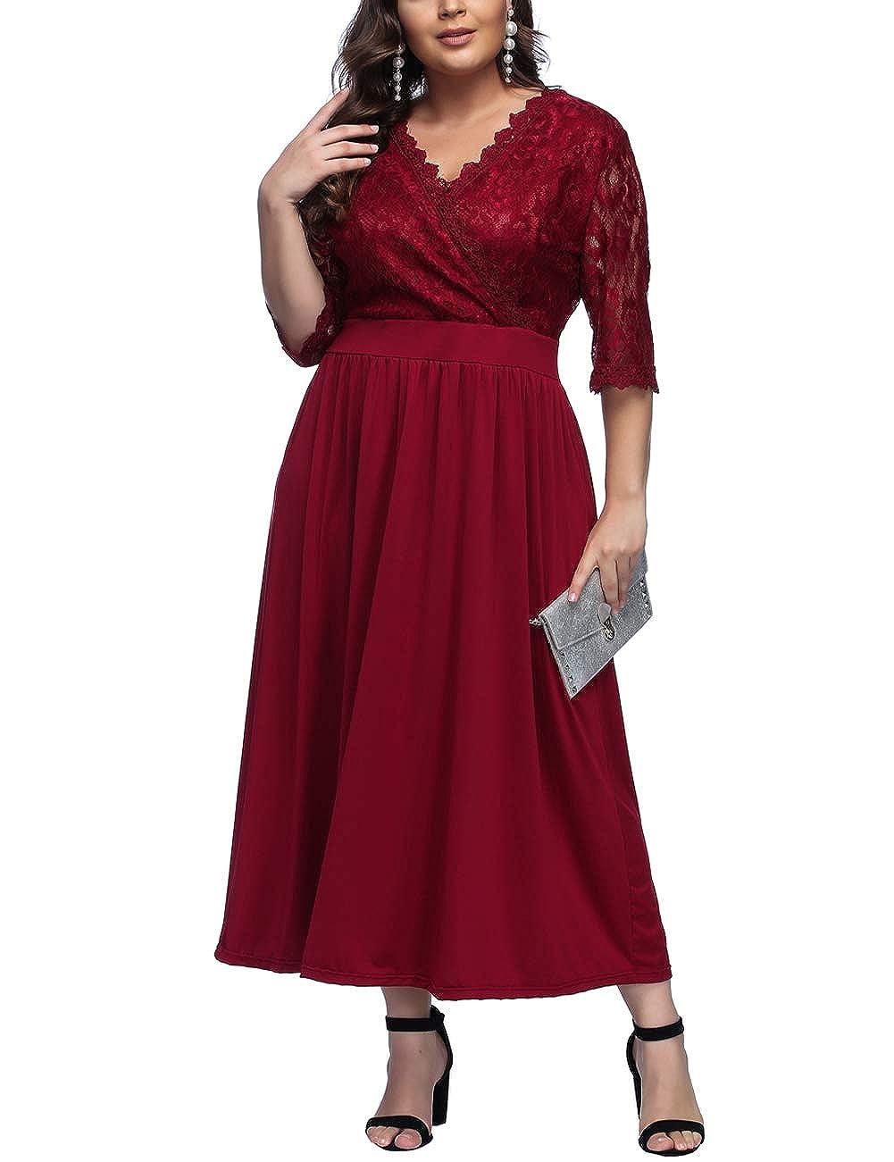 TALLA 3XL/ES 54-56. FeelinGirl 1950 Año Retro A-Línea Falda de Fiesta para Mujer Encaje-rojo 3XL/ES 54-56
