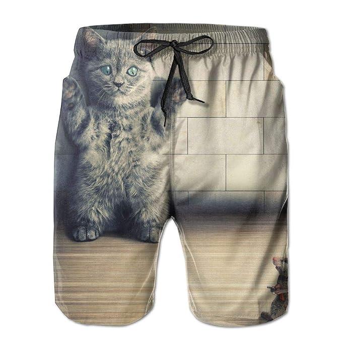 Amazon com: Hands up Cat Men Beach Pants Swim Trunks Dry Fit