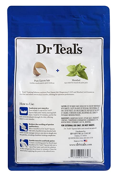 Dr azul puro del Epsom sal Soaking solución para Pre y Post entrenamiento con Sulfato de magnesio y menta, 1,36 kg: Amazon.es: Salud y cuidado personal