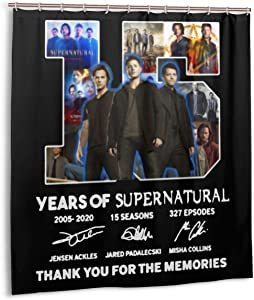 Hannab House Decor Waterproof Shower Curtain 15 Years of Supernatural Tv Show Accessories Polyester Fabric Set with 12 Hooks,for Bathroom Showers,Stalls and Bathtubs 72x78 in