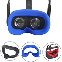 Esimen VR Face Silicone Cover Mask & Face Pad for Oculus Quest Face Cushion Cover Sweatproof Lightproof Comfort Set (Mask Blue)