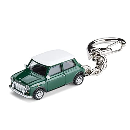 Llavero con coche en miniatura, Mini Cooper British Racing Green, 1:87