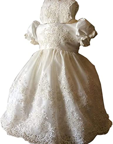 Kelaixiang White Lace Christening Dresses for Baby Long Robe