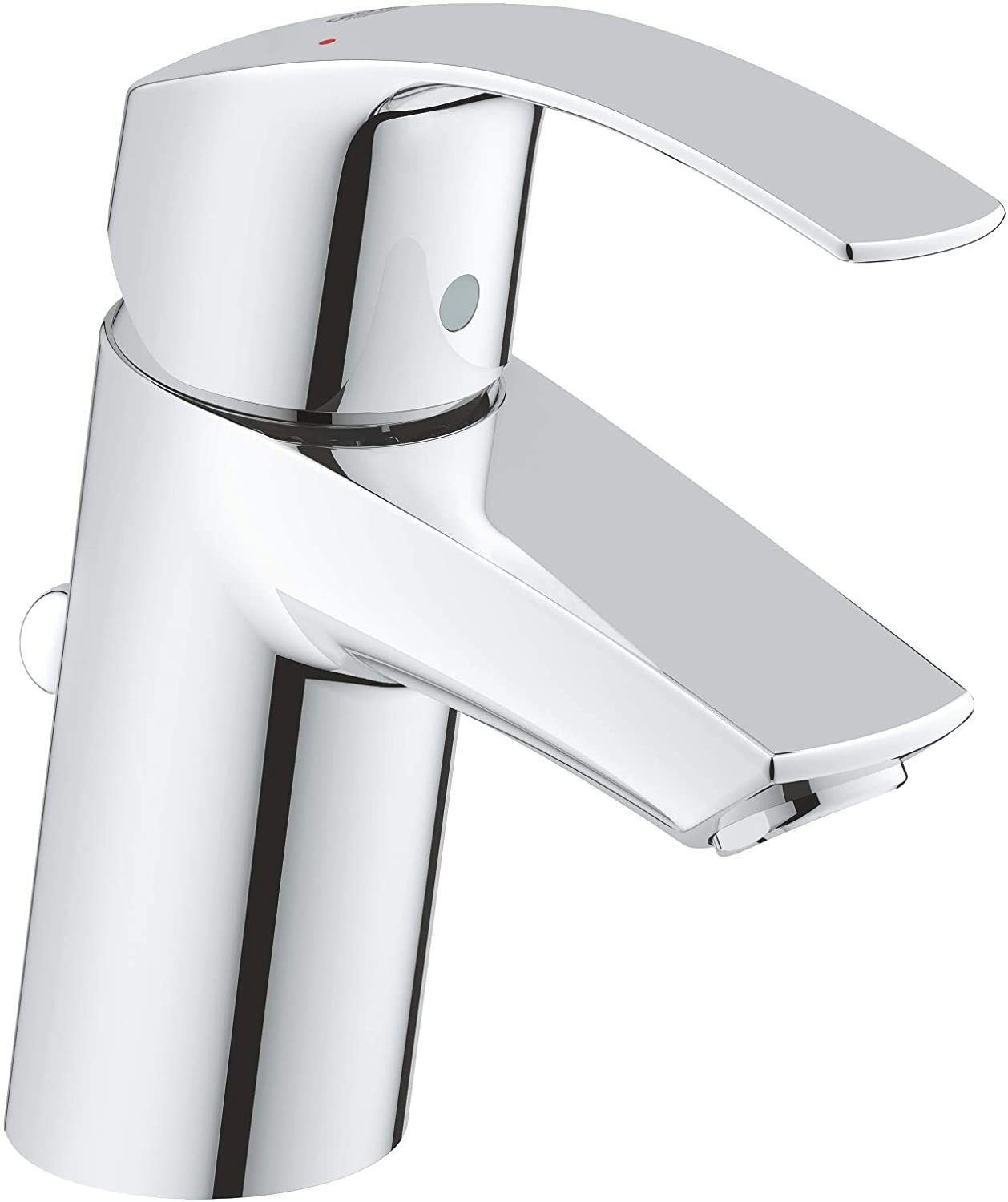 GROHE Eurosmart single-lever basin tap with pop-up waste, plug, one handle basin mixer tap, bathroom, regular spout, water-saving, easy to clean, easy installation, chrome, 33265002